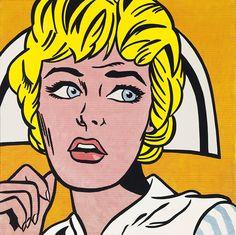 Popart Nurse Roy Lichtenstein Decoratief, geen diepere betekenis, direct voor iedereen herkenbaar.