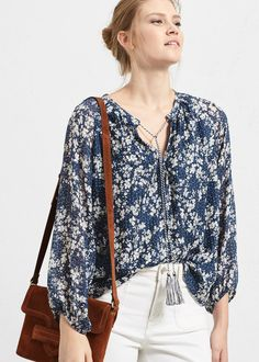 Blusa estampado flores -  Violeta | VIOLETA BY MANGO