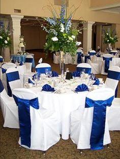 Decoracion de #salon para #boda azul y plateado (y blanco!)