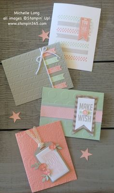 handmde cards in soft colors ... one layer with banners or tags ... embossing folder textured backgrounds ... Stampin' Up!