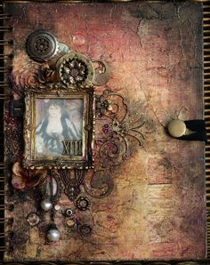Geraldine Pasinati for The Dusty Attic making a journal cover using Finnabair techniques, March 2013