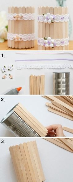 36 Trendy Ideas Diy Wood Crafts To Sell Popsicle Sticks Kids Crafts, Tin Can Crafts, Wood Crafts, Easy Crafts, Diy And Crafts, Diy Wood, Pallet Crafts, Homemade Crafts, Creative Crafts