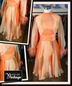 Vintage Orange Peach Beige Feathers Abstract by HighLowVintage