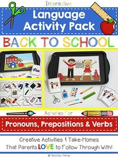 Speech Therapy: Pronouns & Prepositions with a Back to School ThemeSpeech Therapy / Language Activities to target pronouns and prepositions (positional concepts). -----------------------------------------------------------------------------------------------------------This packet is also available as part of the ULTIMATE Speech Therapy Back to School Bundle.