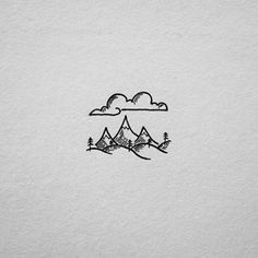 Love these very simpe illustrations of the great outdoors ; Doodle Drawings, Doodle Art, Easy Drawings, Doodle Tattoo, Mini Doodle, Doodles, Desenho Tattoo, Pen Art, Simple Art