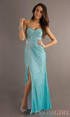 Floor Length Sequin Embellished Dress at PromGirl.com