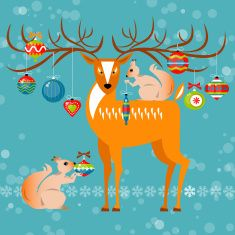 Christmas deer and squirrels with christmas balls. vector art illustration