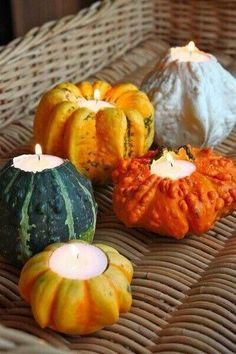 Purchase small pumpkins and carve out a hole in the top large enough for a tealight