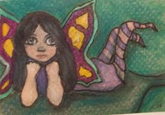 ORIGINAL  ACEO  COLORED PENCIL ART PAINTING FAIRY PIXIE GIRL PURPLE LEAF GINA