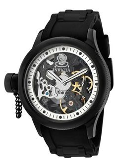 Invicta Men's Russian Diver Black & Silver Skeletonized Dial Black Silicone