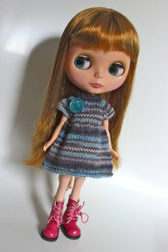 Rainy Day Blues  Knitted Dress for Blythe by flissy666 on Etsy, $16.00