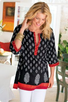 Plus-Size Cotton Tunic, Sizes S-3X |
