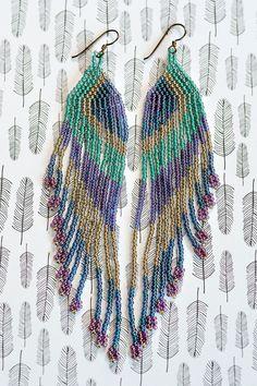 Fringe Earrings Seed Bead Earrings Native by AmorphiaDesigns