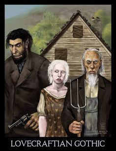 "Last week I found the Mona Lisa redone as Cthulhu and this week Grant Wood's famous painting ""American Gothic"" has been given a Lovecrafti. Necronomicon Lovecraft, Lovecraft Cthulhu, Hp Lovecraft, American Gothic Painting, American Gothic Parody, Arte Horror, Horror Art, Horror Comics, The Dunwich Horror"