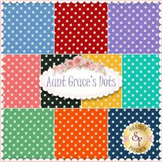 Aunt Grace's Dots 10 FQ Set By Judie Rothermel For Marcus Fabrics: Aunt Grace's Dots is a polka dot collection by Judie Rothermel for Marcus Fabrics. 100% Cotton. This set contains 16 fat quarters, each measuring approximately 18
