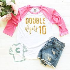 Birthday Shirt 10 Year Old Girl Gift Ten Year Old Birthday Shirt double digits birthday 10 Year Old Birthday Shirt - Birthday Shirts - Ideas of Birthday Shirts - 10 Years Girl, 10 Year Old Girl, 10th Birthday, Girl Birthday, Birthday Gifts For Girls, Birthday Ideas, Cute Girl Outfits, Kids Outfits, Nursing School Shirts