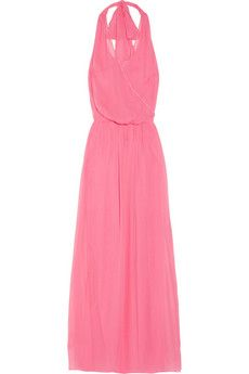 Alice + Olivia - Silk-crepe wrap-effect maxi dress
