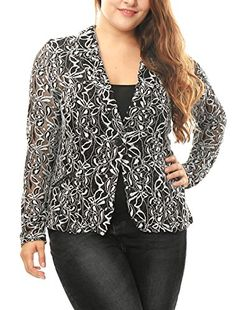 Agnes Orinda Women Plus Size Shawl Collar Sheer Floral Lace Blazer 2X White *** Click image to review more details.