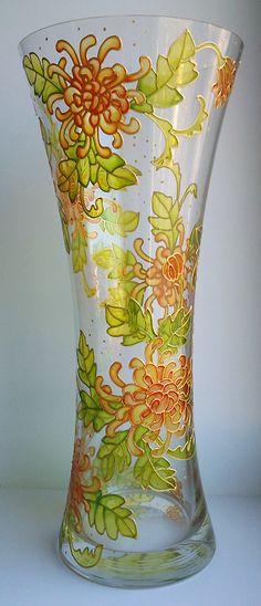 Hand painted vase - Chrysanthemums