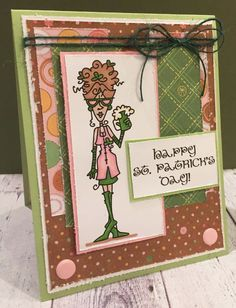 Stella Says Sketch Challenge No. 304, Naughty or Nice Challenge No. 13 - It ain't easy being Green, Digital Image - Bugaboo Stamps/Ruby Calendar Month March, Card Base - Stampin' Up, DP - Scraps, Other Stuff - ProMarkers, craftworkcards candi, burlap string.