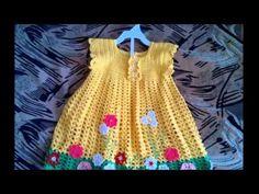 Vestidos tejidos a crochet para bebes de 0 a 12 meses - YouTube