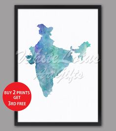 India Map Print Turquoise Watercolor Map India Art Print Colorful Home Decor Travel Art Map Turquoise Art Print Pastel Wall Art India Gift Map Wall Art, Map Art, Pastel Walls, Turquoise Art, Water Color World Map, India Map, Watercolor Map, Free Prints, Paper Texture