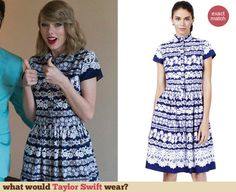 Taylor Swift's blue and white lace striped dress at a Keds Event. Outfit Details: http://wwtaylorw.com/3124