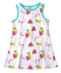 White Pineapple & Flamingo Tank Dress - Toddler & Girls