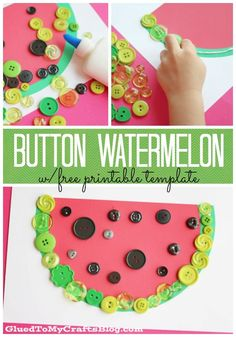 Button Watermelon Kid Craft w/free printable template