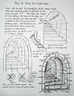 How to Draw Worksheets for The Young Artist: How To Draw Stone Stairs, Lesson and Worksheet. This is so wonderfully understandable for the young artist. Basic Drawing, Drawing Tips, Drawing Sketches, Pencil Drawings, Sketching, 3d Drawings, Landscape Drawings, Sketch Art, Manga Drawing