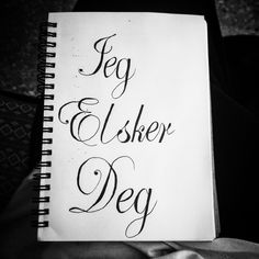 Jeg elsker deg, i love you, Norwegian tattoo script calligraphy