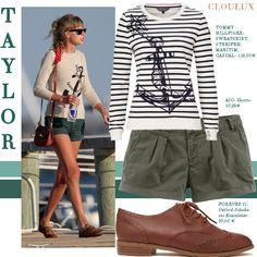 Taylor Swift in einem trendy Ringel-Shirt und coolen Shorts
