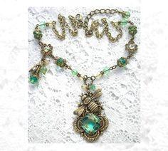 Clover Dance - Honey Bee Necklace Set Peridot Jonquil Glass. $88.00, via Etsy.