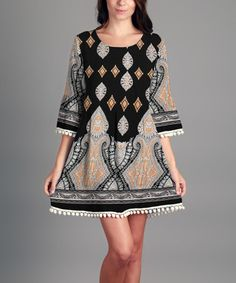 This Black & Yellow Arabesque Tunic is perfect! #zulilyfinds