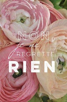rien de rien, edith piaf, flowers, quotes, pink, songs, wallpaper, iphone, non je ne regrette rien
