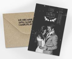 Wedding Thank You Card Love and Thanks by violaprints on Etsy. Like the idea