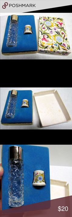"""Avon Set, Bottle and Collectible Porcelain Thimble Vintage Avon Set Ariane Ultra Cologne Bottle and Collectible Porcelain Thimble with original box - Home Decor  Excellent Vintage Condition. No Chips, No Cracks.  The bottle is EMPTY.  The box is worn but the bottle and thimble are in excellent condition, Please See pictures for condition and details, thanks.  The box measures approximately 4"""" tall, by 3"""" wide The bottle measures approximately 3 1/4"""" tall, by 3/4"""" wide The Thimble measures…"""