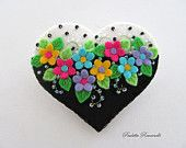 Felt Flower Heart Pin