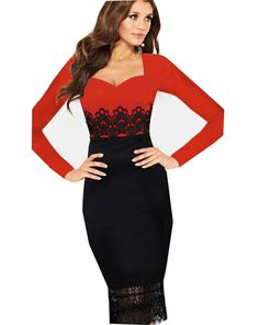 Red Long Sleeve Contrast Black Lace Dress US$38.10