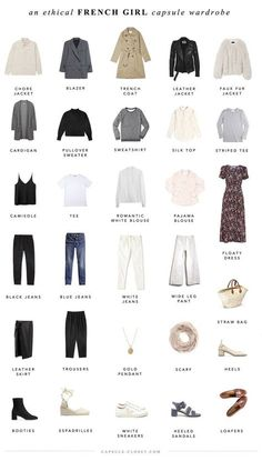 An ethical French style capsule wardrobe – CAPSULE CLOSET I've been more fascinated by French style than ever lately. It's inherently a thoughtful, sustainable approach to dressing, because it incorporates a lot of classic, neutral pieces tha… French Capsule Wardrobe, Capsule Wardrobe Essentials, French Wardrobe Basics, Parisian Wardrobe, Capsule Outfits, Classic Wardrobe, Closet Essentials, Capsule Wardrobe Neutral, Closet Basics
