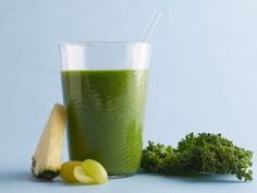 January : This pretty green smoothie is packed with fiber, vitamin C and lutein (which may be good for eyesight). Keep frozen grapes in your freezer so you can whirl this up in a pinch for breakfast or for a healthy refresher any time of day.