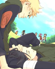 I like how Sasuke looks so peaceful in Naru's lap. How he can just forget all his troubles and let his guard down near Naruto is cute