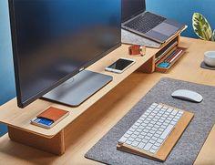 Dual monitor setup with our Maple desk shelf system. Home Office Setup, Desk Setup, Room Setup, Home Office Desks, Home Office Furniture, Office Cubicle, Dual Monitor Setup, Desk Tray, Shelf System
