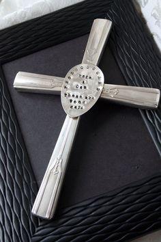 Custom Silverware Cross PERSONALIZE ME by erinschock on Etsy,