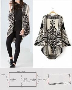 39 trendy knitting patterns for women ponchos plus size Dress Sewing Patterns, Clothing Patterns, Knitting Patterns, Poncho Pattern Sewing, Cardigan Pattern, Fashion Sewing, Diy Fashion, Fashion Outfits, Work Fashion