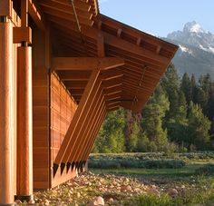 Timber post and beam construction, Laurance S. Rockefeller Preserve by Carney Logan Burke Architects, Moose, Wyoming.