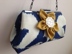 CLUTCH - Handmade Blue & Cream Damask Fabric With Flower