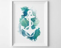 Anchor Digital Painting, Nautical Watercolor Anchor, Watercolor Painting, Navy, Nautical Anchor Poster, Printable Nautical Wedding Gift