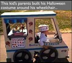 Wheelchair Ice Cream Truck Halloween Costume Here is a great image. Little Carter is wheelchair bound due to spina bifida so, for last Halloween, his dad transformed his wheelchair into Buster's Ice Cream Truck. Halloween Costume Videos, Homemade Halloween Costumes, Costume Ideas, Car Costume, Kid Costumes, Halloween Clothes, Costume Makeup, Funniest Costumes, Witch Costumes