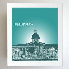 South Carolina Skyline State Capitol Landmark - Modern Gift Decor Art Poster 8x10. $20.00, via Etsy.